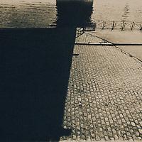 Prague embankment created as a cyanotype print