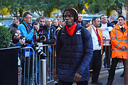 Wilfried Zaha (11) of Crystal Palace arriving at the Vitality Stadium before the Premier League match between Bournemouth and Crystal Palace at the Vitality Stadium, Bournemouth, England on 1 October 2018.