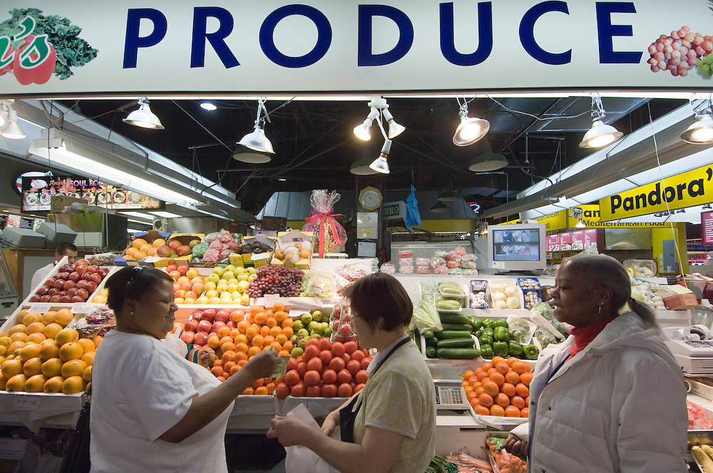 Produce stand at Lexington Market in Baltimore, Md