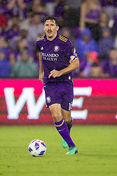 May 13, 2018 - Orlando, FL, U.S. - ORLANDO, FL - MAY 13: Orlando City midfielder Sacha Kljestan (16) with the ball during the soccer match between the Orlando City Lions and Atlanta United on May 13, 2018 at Orlando City Stadium in Orlando, FL. (Photo by Joe Petro/Icon Sportswire) (Credit Image: © Joe Petro/Icon SMI via ZUMA Press)
