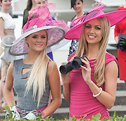 Jill Macken from Meath (Winner Anthony Ryan's Best Dressed Lady Galway Races 2006) and Rosanna Davison guest judge for this year's Anthony Ryan's Best Dressed Lady Competition at the Galway Races Summer Festival at the launch of the  Anthony Ryan's Best Dressed Lady on the 2nd of August 2012  at the Galway Races. Photo:Andrew Downes.