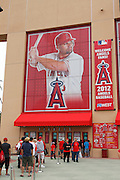 ANAHEIM, CA - APRIL 22:  A mural of Albert Pujols #5 of the Los Angeles Angels of Anaheim flies above the ticket window at the game against the Baltimore Orioles on Sunday, April 22, 2012 at Angel Stadium in Anaheim, California. The Orioles won the game 3-2 in ten innings. (Photo by Paul Spinelli/MLB Photos via Getty Images)