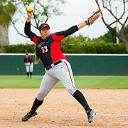 12 May 2018:  San Diego State pitcher Marissa Moreno comes in for relief against Utah State. San Diego State women's softball closed out the season against Utah State with a 4-3 win on seniors day and sweep the series. <br /> More game action at sdsuaztecphotos.com