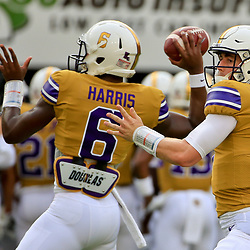Sep 17, 2016; Baton Rouge, LA, USA;  LSU Tigers quarterback Danny Etling (16) and quarterback Brandon Harris (6) before a game against the Mississippi State Bulldogs at Tiger Stadium. Mandatory Credit: Derick E. Hingle-USA TODAY Sports