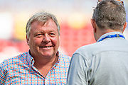 AFC Wimbledon manager Wally Downes shares a joke with former AFC Wimbledon defender Mick Smith before the EFL Sky Bet League 1 match between Sunderland and AFC Wimbledon at the Stadium Of Light, Sunderland, England on 24 August 2019.