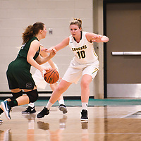 3rd year forward Alexi Rowden (10) of the Regina Cougars during the Women's Basketball pre-season game on October 14 at Centre for Kinesiology, Health and Sport. Credit: Arthur Ward/Arthur Images