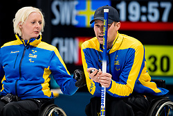 March 10, 2018 - Pyeongchang, SOUTH KOREA - 180310 Kristina Ulander, second skipper, and Viljo Petersson Dahl, first skipper of Sweden, during the wheelchair curling mixed round robin session between Sweden and China during day one of the 2018 Winter Paralympics on March 10, 2018 in Pyeongchang..Photo: Vegard Wivestad GrÂ¿tt / BILDBYRN / kod VG / 170113 (Credit Image: © Vegard Wivestad Gr¯Tt/Bildbyran via ZUMA Press)