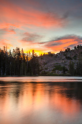 """Sunset at Lower Rock Lake 1"" - Sunset photo shot at Lower Rock Lake in the back country of the Tahoe National Forest."