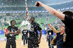 James Gist of Partizan and Nathan Jawai  of Partizan celebrate after the final match of Basketball NLB League at Final four tournament between KK Union Olimpija (SLO) and Partizan Belgrade (SRB), on April 21, 2011 in Arena Stozice, Ljubljana, Slovenia. Partizan defeated Union Olimpija 77-74 and became NLB league Champion 2011.  (Photo By Vid Ponikvar / Sportida.com)