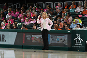 February 11, 2018: Head coach Sue Semrau of Florida State in action during the NCAA basketball game between the Miami Hurricanes and the Florida State Seminoles in Coral Gables, Florida. The Seminoles defeated the 'Canes 91-71.