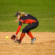 02 March 2018: San Diego State softball hosts Minnesota on day two of the San Diego Classic I at Aztec Softball Stadium. San Diego State infielder Katie Byrd (11) tracks down a ball hit up the middle in the top of the seventh inning. The Aztecs beat the #21/20 Gophers 6-2.<br /> More game action at sdsuaztecphotos.com