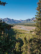 Bridge over the Teklanika River, Denali National Park, Alaska.