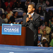 Barack Obama addresses the crowd at his rally at Joe Louis Arena on Monday, June 16, 2008 in Detroit, MI.