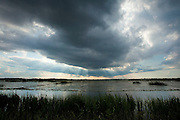 The sun shines through the storm clouds over a protected wetland area managed for waterfowl at the Savannah National Wildlife Refuge. Hardeeville, SC