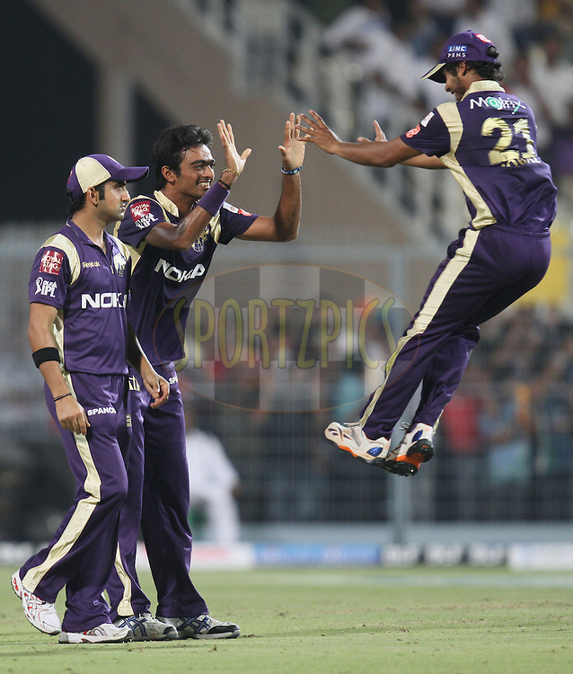 Kolkata Knight Riders celebrate during match 6 of the Indian Premier League ( IPL ) between the Kolkata Knight Riders and the Deccan Chargers held at Eden Gardens Cricket Stadium in Kolkata, India on the 11th April 2011. ..Photo by Parth Sanyal/BCCI/SPORTZPICS