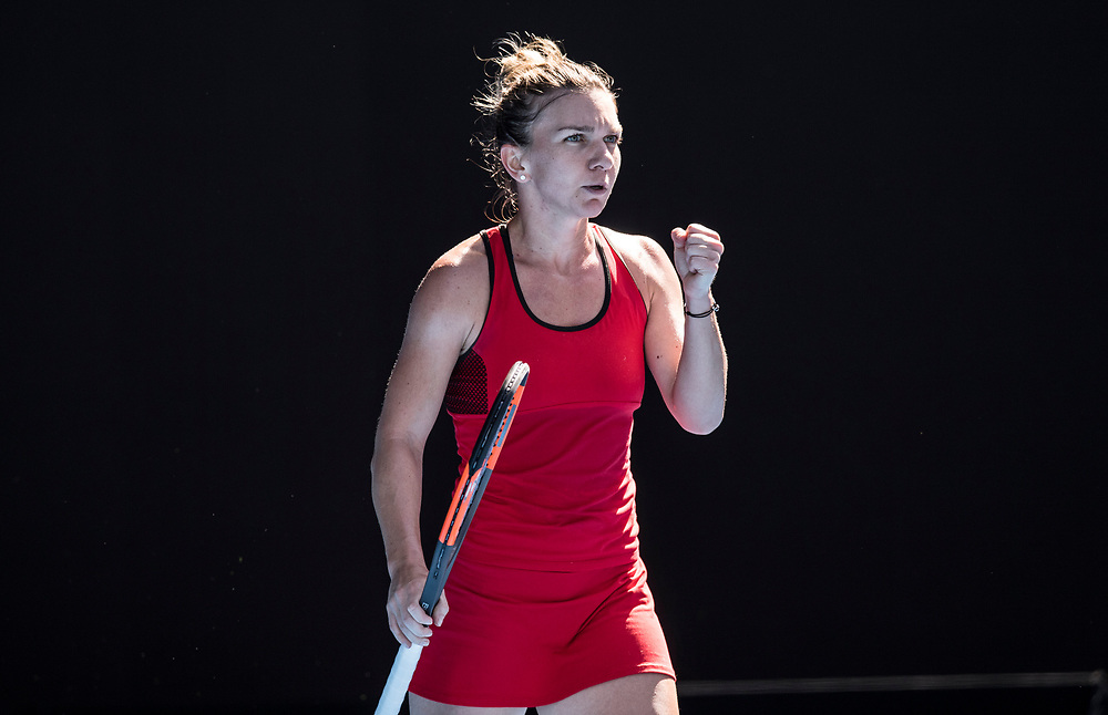 Simona Halep of Romania on day ten of the 2018 Australian Open in Melbourne Australia on Wednesday January 24, 2018.<br /> (Ben Solomon/Tennis Australia)