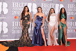February 20, 2019 - London, United Kingdom of Great Britain and Northern Ireland - (L-R) Jesy Nelson, Perrie Edwards, Jade Thirlwall and Leigh-Anne Pinnock of Little Mix arriving at The BRIT Awards 2019 at The O2 Arena on February 20, 2019 in London, England  (Credit Image: © Famous/Ace Pictures via ZUMA Press)