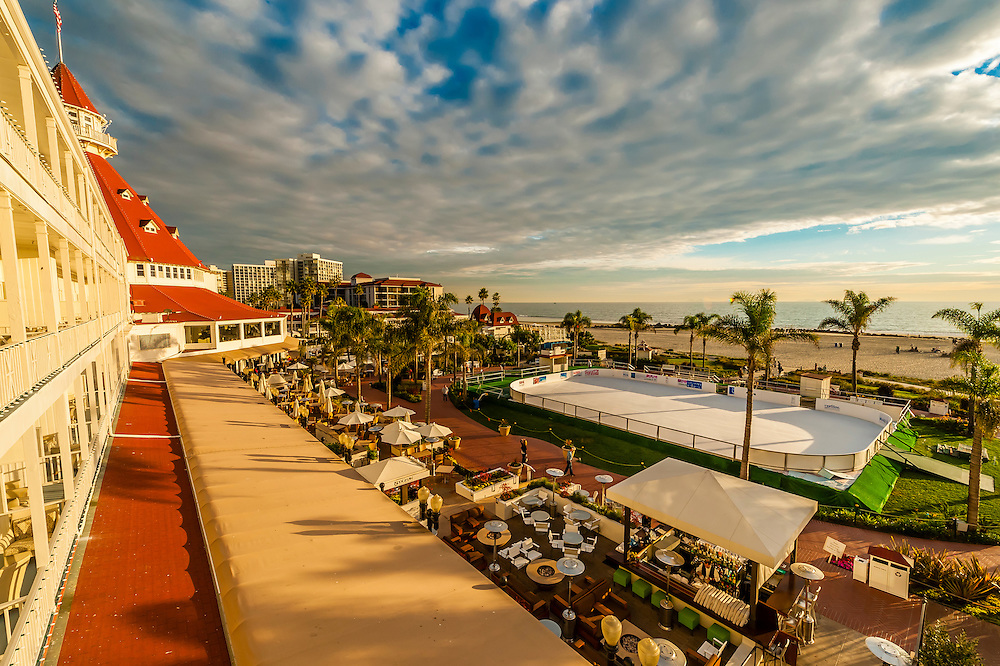 An iceskating rink at Christmas time, Hotel del Coronado (a beachfront luxury hotel), Coronado Island (San Diego), California USA.
