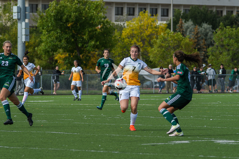 3rd year forward Brianna Wright (7) of the Regina Cougars controls the ball during the Women's Soccer Homeopener on September 10 at U of R Field. Credit: Arthur Ward/Arthur Images