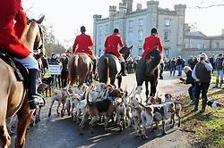© Licensed to London News Pictures. 26/12/2016<br /> Nigel Farage at todays hunt.<br /> Boxing Day Hunt.<br /> Old Surrey Burstow and West Kent Hunt at Chiddingstone Castle, Chiddingstone in Kent.<br /> Photo credit :Grant Falvey/LNP