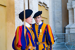 The Papal Swiss Guard in the Vatican was founded in 1506 and is the only Swiss Guard that still exists. Changing of the guard at The Basilica of Saint Peter (Latin: Basilica Sancti Petri), officially known in Italian as the Basilica di San Pietro in Vaticano and commonly called Saint Peter's Basilica, is one of four major basilicas of Rome.   Rome, Italy December 1, 2007.