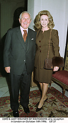 LORD & LADY WOLFSON OF MARYLEBONE at a reception in London on October 14th 1996.LST 37