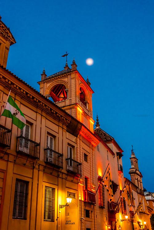 Calle de Santa Maria la Blanca in the Santa Cruz neighborhood of the old city, Seville, Andalusia, Spain.