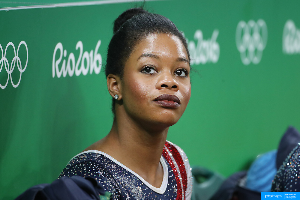 Gymnastics - Olympics: Day 4 Gabrielle Douglas of the United States during the Artistic Gymnastics Women's Team Final at the Rio Olympic Arena on August 9, 2016 in Rio de Janeiro, Brazil. (Photo by Tim Clayton/Corbis via Getty Images)