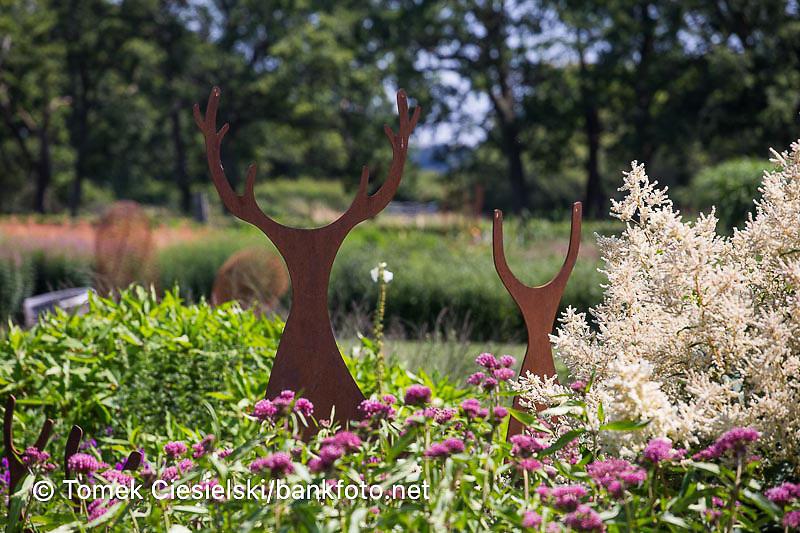 Metal sculpture located in Sussex prairie garden