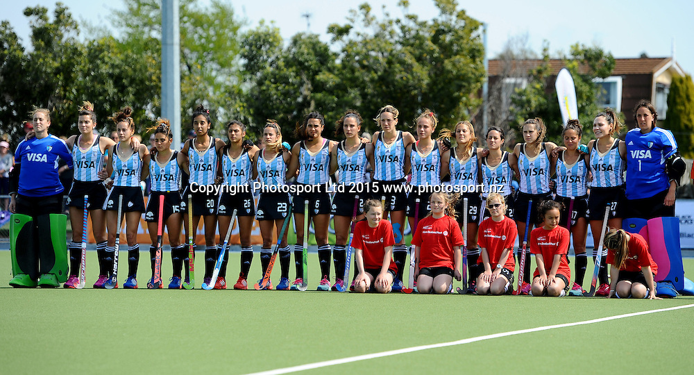 Argentina team stand for their National Anthem during their 2015 South Island Tour game between the New Zealand Black Sticks Women v Argentina. College Park, Blenheim, New Zealand. Sunday 4 October 2015. Copyright Photo: Chris Symes / www.photosport.nz
