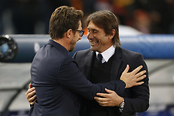 October 31, 2017 - Rome, Italy - Rome, Italy - 31/10/2017..(L-R) Coach Eusebio Di Francesco of Roma greets coach Antonio Conte of Chelsea during their UEFA Champions League Group C soccer match at the Olympic stadium in Rome..UEFA Champions League Group C soccer match between AS Roma and Chelsea FC at the Olympic stadium in Rome. AS Roma defeating Chelsea FC 3-0. (Credit Image: © Giampiero Sposito/Pacific Press via ZUMA Wire)
