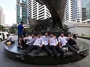 Singapore. Raffles Place. Chefs having a break.