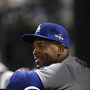 Jimmy Rollins, Los Angeles Dodgers, in the dugout during the New York Mets Vs Los Angeles Dodgers, game four of the NL Division Series at Citi Field, Queens, New York. USA. 13th October 2015. Photo Tim Clayton