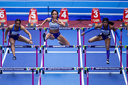 02-02-2018 GBR: World Indoor Championships Athletics day 2, Birmingham<br /> Erica Bougard USA, Katerina Johnson-Thompson GBR, Kendall Williams USA