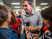 20 MAY 2019 - DAVENPORT, IOWA: BETO O'ROURKE, a Texas Democrat, talks to individual voters after a town hall style campaign appearance in Davenport. About 200 people came to the event in the River Music Experience, a downtown venue. O'Rourke, running to be the 2020 Democratic nominee for the US Presidency, has made climate change a central part of his campaign. He held a town hall in Davenport Monday. Iowa traditionally hosts the the first election event of the presidential election cycle. The Iowa Caucuses will be on Feb. 3, 2020.      PHOTO BY JACK KURTZ
