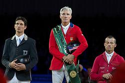 Podium Rolex FEI World Cup™ Jumping Final 2012<br /> 1. Rich Fellers<br /> 2. Steve Guerdat<br /> 3. Pius Schwizer<br /> 'S Hertogenbosch 2012<br /> © Dirk Caremans