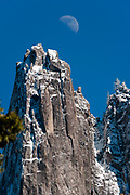 Moonrise over Sentinal Rock in Yosemite Valley