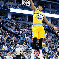 10 April 2016: Denver Nuggets guard Gary Harris (14) goes for the dunk during the Utah Jazz 100-84 victory over the Denver Nuggets, at the Pepsi Center, Denver, Colorado, USA.