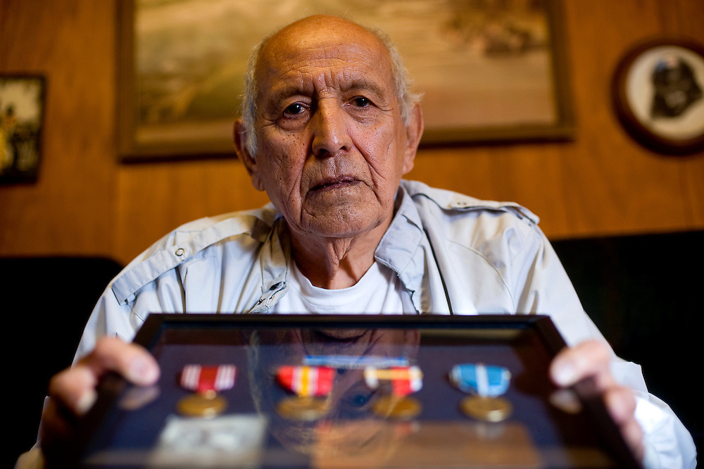 "011811       Brian Leddy.Korean War Veteran Raymond ""Buster"" Gonzales recently received his military awards for his service. He was in the famous battle of Pork Chop Hill in Korea in 1953."
