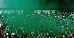 03.10.2010,  BayArena, Leverkusen, GER, 1. FBL, Bayer Leverkusen vs Werder Bremen, 7. Spieltag, im Bild: Gruene Rauchbombe nach dem 1:1 durch Hugo Almeida (Bremen #23)  EXPA Pictures © 2010, PhotoCredit: EXPA/ nph/  Mueller+++++ ATTENTION - OUT OF GER +++++