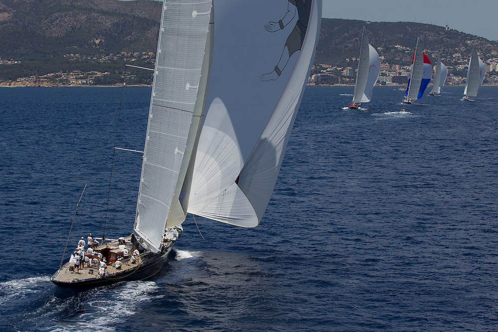 SPAIN, Palma. 21st June 2013. Superyacht Cup. J Class. Race three, coastal race. L-R Hanuman, Rainbow, Velsheda, Lionheart, Ranger.