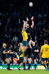 Australia Full Back Israel Folau and New Zealand Number 8 Kieran Read go for the  high ball - Mandatory byline: Rogan Thomson/JMP - 07966 386802 - 31/10/2015 - RUGBY UNION - Twickenham Stadium - London, England - New Zealand v Australia - Rugby World Cup 2015 FINAL.