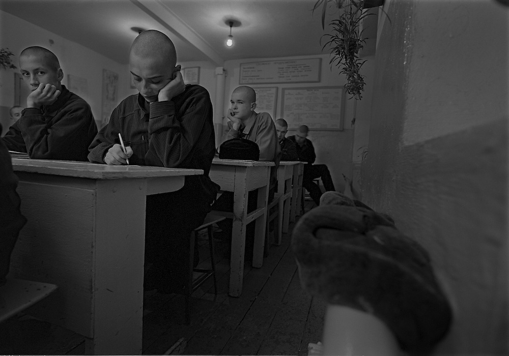 The prisoners seat at the lesson in the prison's colony in the colony for prisoner's children in Siberian town Leninsk-Kuznetsky, Russia, 15 January 2000.