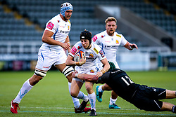 Harvey Skinner of Exeter Braves is tackled by Pedro Bettencourt of Newcastle Falcons A-Team - Mandatory by-line: Robbie Stephenson/JMP - 06/05/2019 - RUGBY - Kingston Park Stadium - Newcastle upon Tyne, England - Newcastle Falcons 'A' v Exeter Braves - Premiership Rugby Shield Semi-Final