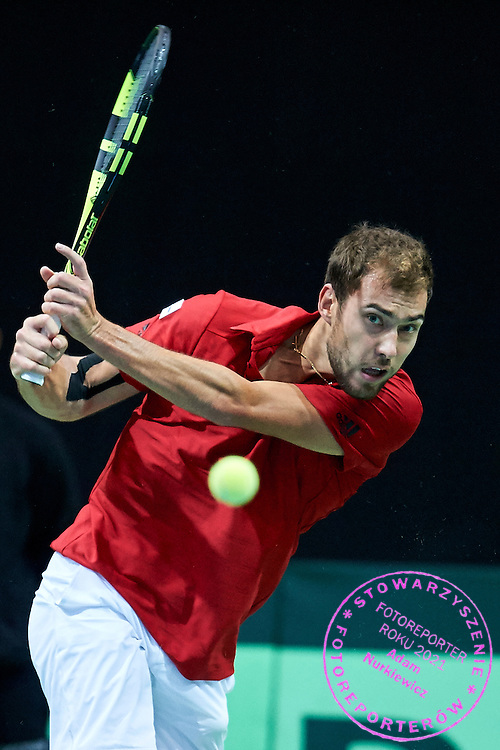 Jerzy Janowicz of Poland competes during Davis Cup Tie World Group Play-off Poland v Slovakia at Gdynia Arena Hall in Gdynia, Poland.<br /> <br /> Poland, Gdynia, September 20, 2015<br /> <br /> Picture also available in RAW (NEF) or TIFF format on special request.<br /> <br /> For editorial use only. Any commercial or promotional use requires permission.<br /> <br /> Adam Nurkiewicz declares that he has no rights to the image of people at the photographs of his authorship.<br /> <br /> Mandatory credit:<br /> Photo by &copy; Adam Nurkiewicz / Mediasport