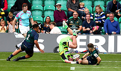 Reece Marshall of Northampton Saints lands awkwardly as he is tackled by Rory Brand of London Irish - Mandatory by-line: Robbie Stephenson/JMP - 29/07/2017 - RUGBY - Franklin's Gardens - Northampton, England - Northampton v London Irish - Singha Premiership Rugby 7s