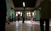 Jumptown Swing instructors Emily Mabie and Ekmel Ercan demonstrates Lindy Hop maneuvers during class at the Wil-Mar Neighborhood Center in Madison, Wisconsin, Thursday, May 23, 2019.