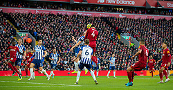 LIVERPOOL, ENGLAND - Saturday, November 30, 2019: Liverpool's Virgil van Dijk scores the first goal wth a header during the FA Premier League match between Liverpool FC and Brighton & Hove Albion FC at Anfield. Van Dijk scored both goals as Liverpool won 2-1. (Pic by David Rawcliffe/Propaganda)