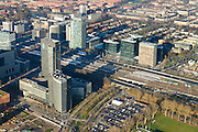 Nederland, Noord-Holland, Amsterdam, 11-12-2013; zicht op de Zuidas, hoofdkantoor ABN-AMRO en WTC, World Trade Centre.<br /> Zuid-as, 'South axis', financial center in the South of Amsterdam, with headquarters of former ABN AMRO. Amsterdam equivalent of 'the City', financial district. <br /> luchtfoto (toeslag op standaard tarieven);<br /> aerial photo (additional fee required);<br /> copyright foto/photo Siebe Swart.