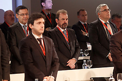 22.03.2016, Ciudad del Futbol de Las Rozas, Madrid, ESP, RFEF, Pressekonferenz spanische Fußballnationalmannschaft, im Bild FC Barcelona's President Josep Maria Bartomeu (l) and Getafe's President Angel Torres (c) // during a press conference of spanish national football Team at the Ciudad del Futbol de Las Rozas in Madrid, Spain on 2016/03/22. EXPA Pictures © 2016, PhotoCredit: EXPA/ Alterphotos/ Acero<br /> <br /> *****ATTENTION - OUT of ESP, SUI*****